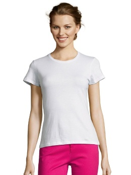 L225-w weisses Damen T-Shirt, tailliert, R-Neck
