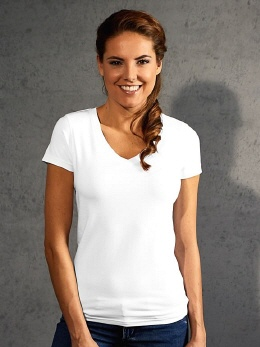 E3086-w weisses Damen Slim Stretch T-Shirt 3XL